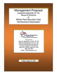 online magazine - eProposal for Managment - Willow Park Mountain View HOA