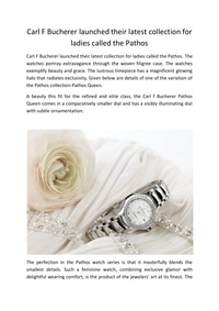 online magazine - Carl F Bucherer launched their latest collection for ladies calle