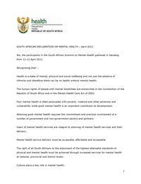 online magazine - South African Declaration on Mental Health-National MH Summit 2012
