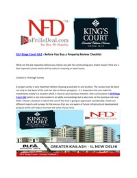 online magazine - DLF Kings Court Gk2 - Before You Buy a Property Review Checklist