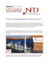 online magazine - Planning To Buy a Property at Wave City Center Noida?
