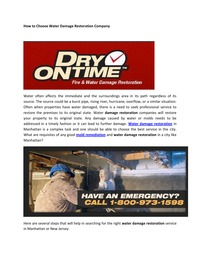 online magazine - How to Choose Water Damage Restoration Company